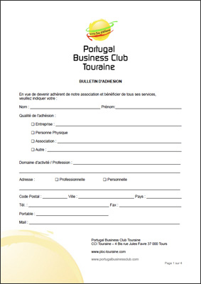 Bulletin adhésion au Portugal Business Club Touraine